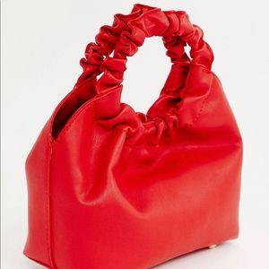 My Accessories London Red Ruched Mini Bag